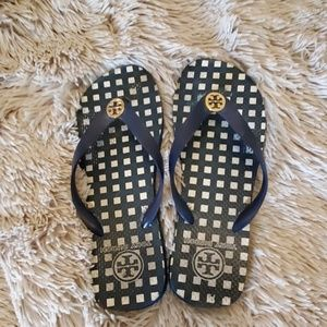 Super cute navy blue and white Tory Burch sandals